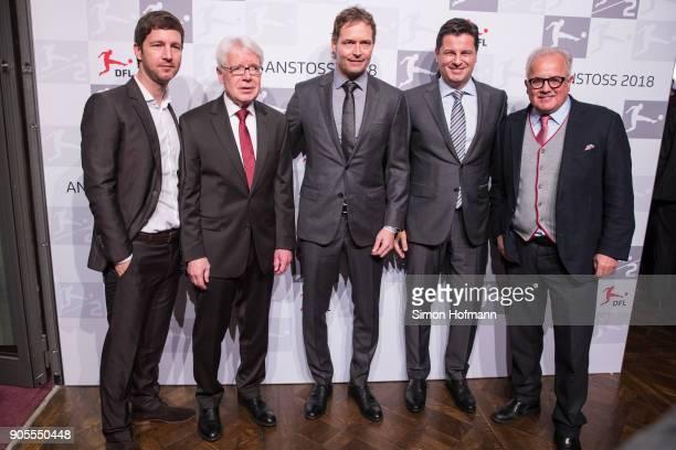 League President Dr Reinhard Rauball poses with Joachen Saier Fritz Keller and DFL CEO Christian Seifert during the 2018 DFL New Year Reception at...