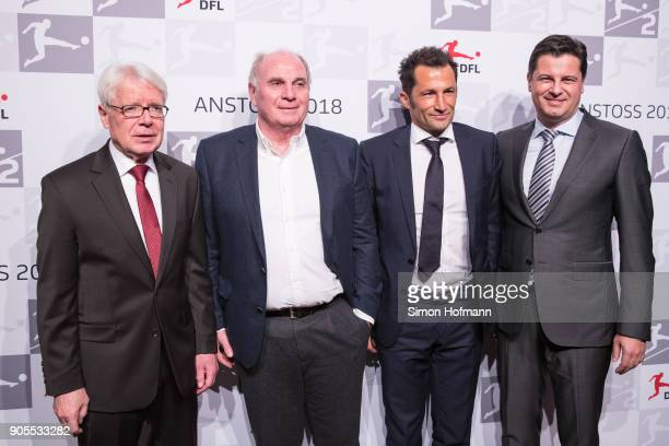 DFL League President Dr Reinhard Rauball Uli Hoeness President of FC Bayern Muenchen Hasan Salihamidzic Sporting Director of FC Bayern Muenchen and...