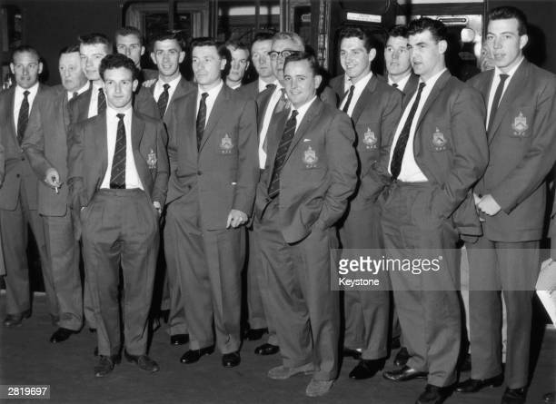 League soccer champions Burnley leave Waterloo Station on the US boat train en route to New York 18th May 1960 There they will take part in an...