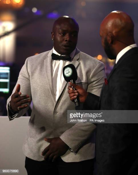 League Two team of the year representative Adebayo Akinfenwa speaks during the 2018 PFA Awards at the Grosvenor House Hotel London