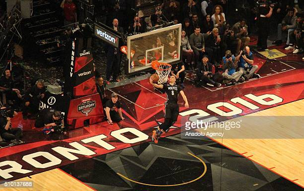 NBA league's Minnesota Timberwolves player Zach LaVine goes up for a dunk during Verizon Slam Dunk Contest within NBA AllStar Saturday Night at Air...