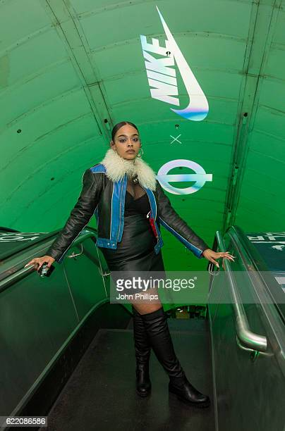 Leah Abbot attends NikeLab x Roundel launch at Charing Cross underground Station on November 9 2016 in London England