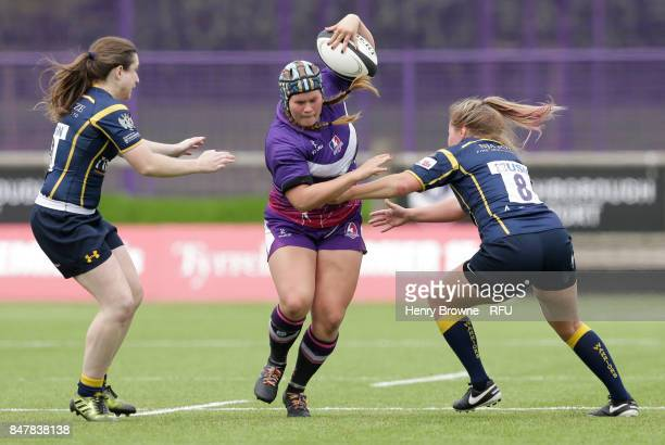 Leah Bartlett of Loughborough Lightning and Maddie Rosalind of Worcester Valkyries during the Tyrrells Premier 15's match between Loughborough...
