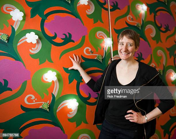 Leah Buechley assistant professor director for HiLow Tech research group photographed in front of Living Wall at Massachusetts Institute of...