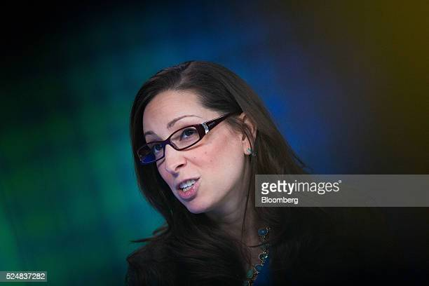 Leah Busque chairman and founder of TaskRabbit Inc speaks during a Bloomberg Television interview in London UK on Wednesday April 27 2016 TaskRabbit...