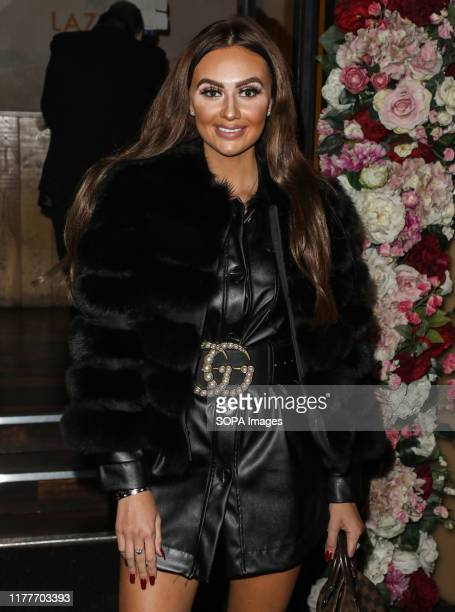 Leah Fletcher attends the launch party for the new Winter Terrace at Lazeez Tapas Mayfair restaurant in London
