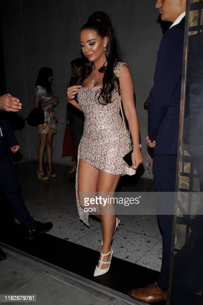 Leah Fletcher seen leaving the ITV Summer party at Nobu Shoreditch on July 17 2019 in London England