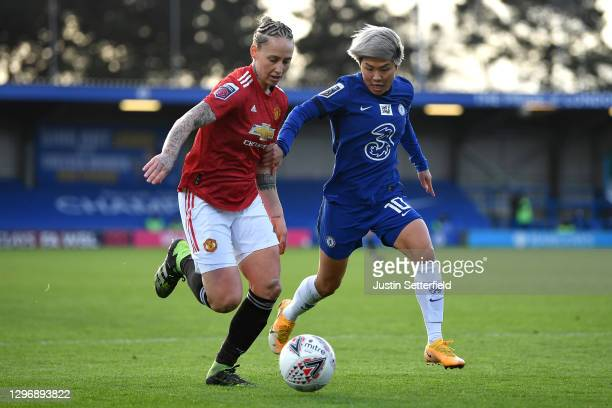 Leah Galton of Manchester United and Ji So-yun of Chelsea in action during the Barclays FA Women's Super League match between Chelsea Women and...