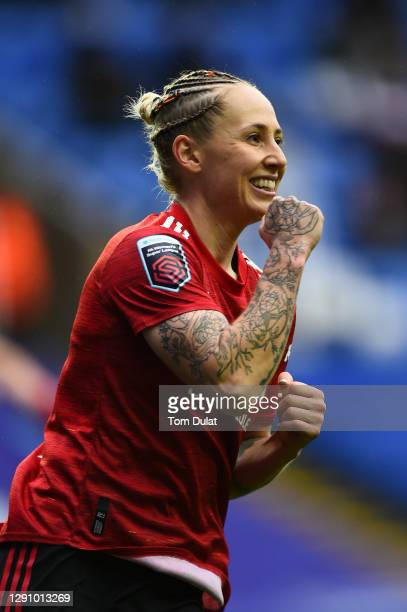 Leah Galton of Manchester United celebrates after scoring their team's first goal during the Barclays FA Women's Super League match between Reading...
