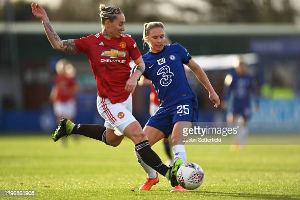 Leah Galton of Manchester United is tackled by Jonna Andersson of Chelsea during the Barclays FA Women's Super League match between Chelsea Women and...