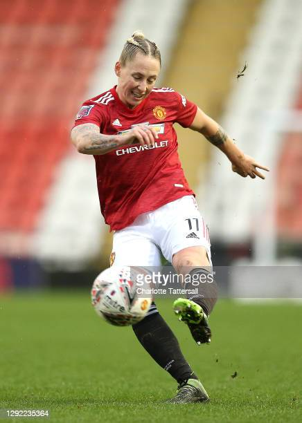 Leah Galton of Manchester United scores their team's first goal during the Barclays FA Women's Super League match between Manchester United Women and...