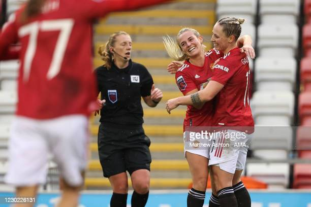 Leah Galton of Manchester United Women celebrates after scoring a goal to make it 1-0 during the Barclays FA Women's Super League match between...