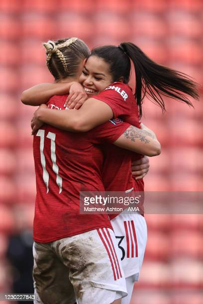 Leah Galton of Manchester United Women celebrates after scoring a goal to make it 4-0 during the Barclays FA Women's Super League match between...