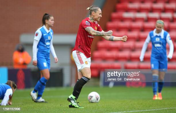 Leah Galton of Manchester United Women celebrates after scoring their opening goal during the Barclays FA Women's Super League match between...