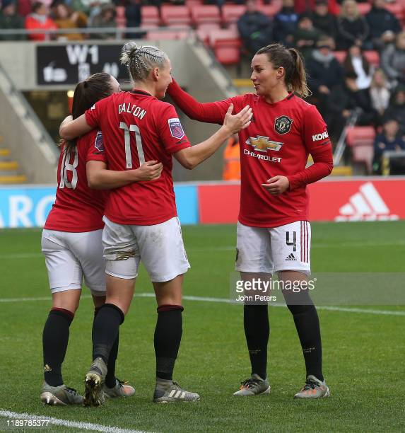 Leah Galton of Manchester United Women celebrates scoring their third goal during the Barclays FA Women's Super League match between Manchester...