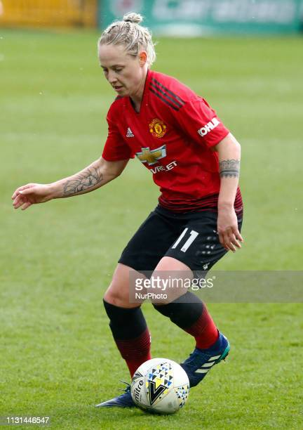 Leah Galton of Manchester United Women during The SSE Womens FA Cup Quarter Final match between Reading FC Women and Manchester United Women at Adams...