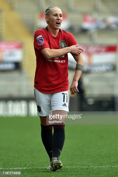 Leah Galton of Manchester United Women in action during the Barclays FA Women's Super League match between Manchester United and Everton at Leigh...
