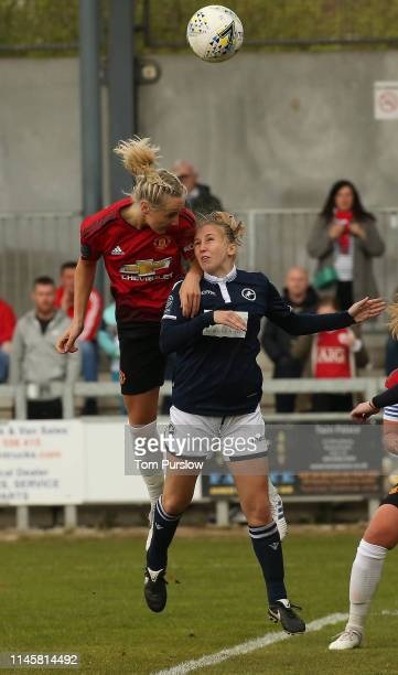 Leah Galton of Manchester United Women in action during the FA Women's Championship match between Manchester United Women and Millwall Lionesses at...