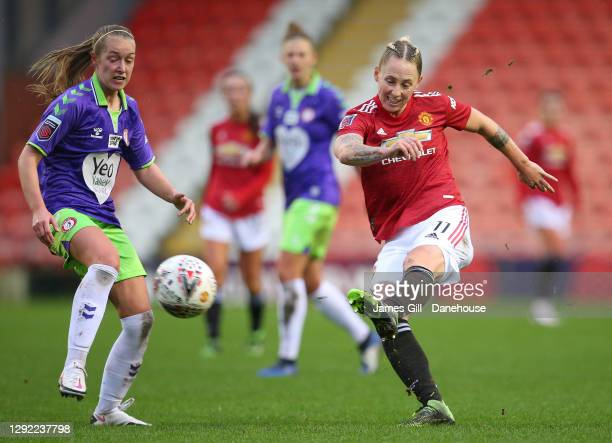 Leah Galton of Manchester United Women scores the opening goal during the Barclays FA Women's Super League match between Manchester United Women and...