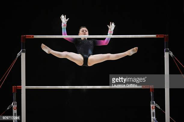 Leah Greenland of South Durham Gymnastics performs on the Uneven Bars during The Women's Junior AllAround Subdivision 1 Round during the Gymnastics...