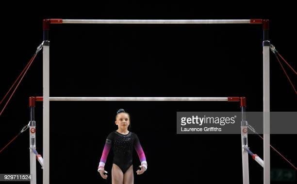 Leah Greenland performs on the Uneven Bars during The Women's Junior AllAround Subdivision 1 Round during the Gymnastics British Championships at...