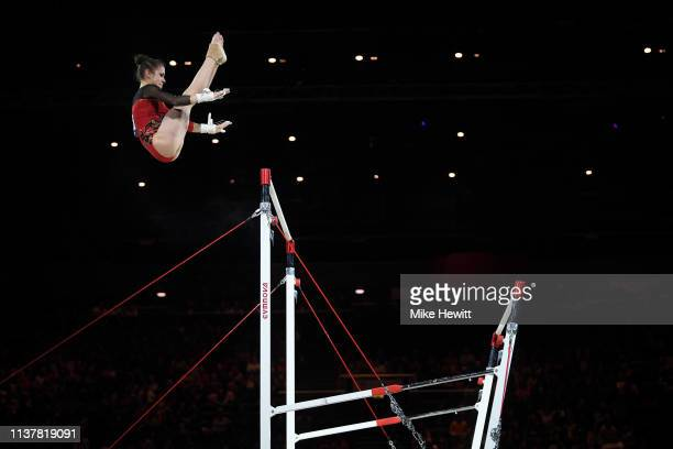 Leah Griesser of Germany in action on the Uneven Bars during the 2019 Gymnastics World Cup at Resorts World Arena on March 23 2019 in Birmingham...