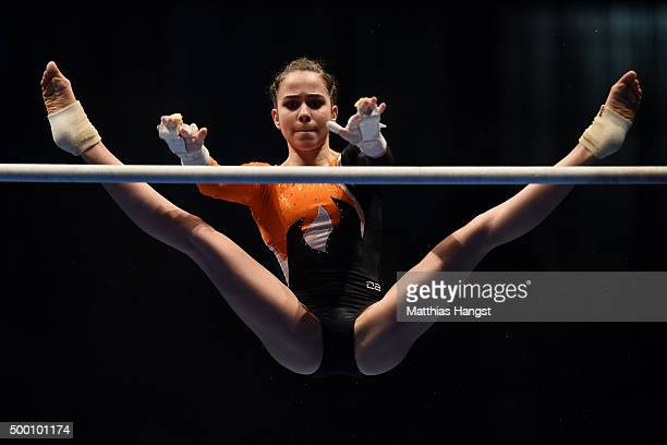 Leah Griesser of TG KarlsruheSoellingen competes in the Uneven Bar during the Women's DTL Finals 2015 at Messehalle 2 on December 5 2015 in Karlsruhe...