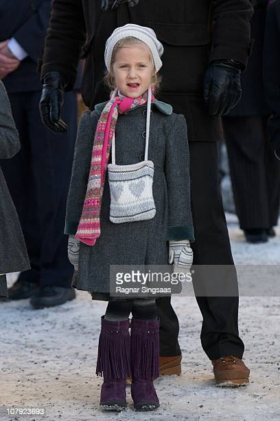 Leah Isadora Behn attends the funeral of AnneMarie Solberg grandmother of Ari Behn at Immanuels Kirke on January 7 2011 in Halden Norway