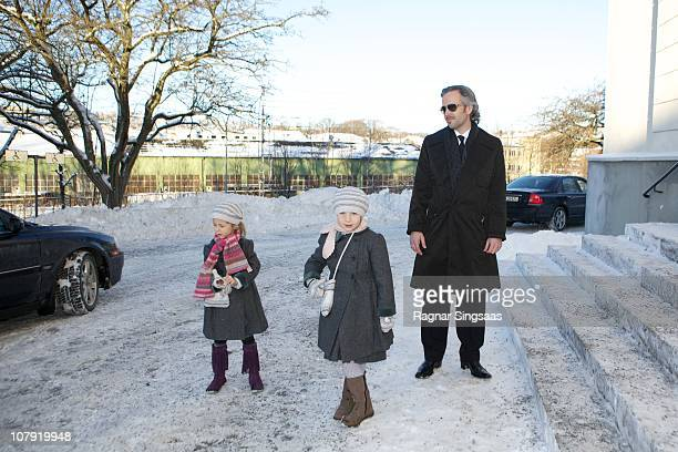 Leah Isadora Behn Maud Angelica Behn and Ari Behn attend the funeral of his grandmother AnneMarie Solberg at Immanuels Kirke on January 7 2011 in...