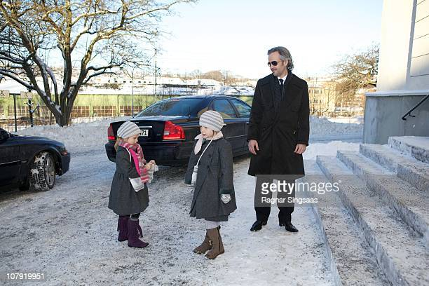 Leah Isadora Behn Maud Angelica Behn and Ari Behn attend the funeral of AnneMarie Solberg grandmother of Ari Behn at Immanuels Kirke on January 7...