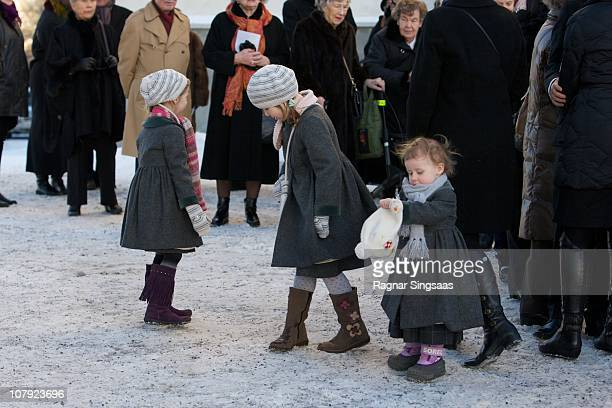 Leah Isadora Behn Maud Angelica Behn and Emma Tallulah Behn attend the funeral of AnneMarie Solberg grandmother of Ari Behn at Immanuels Kirke on...