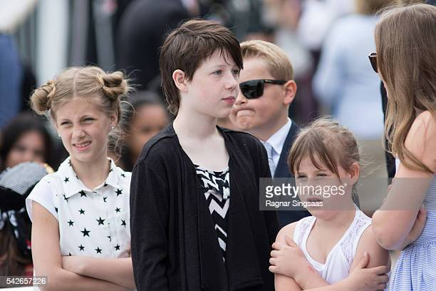 Leah Isadora Behn Maud Angelica Behn and Emma Tallulah Behn attend festivities at the Ravnakloa fish market during the Royal Silver Jubilee Tour on...
