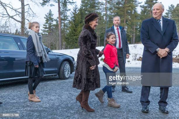 Leah Isadora Behn of Norway Queen Sonja of Norway and Emma Tallulah Behn of Norway King Harald of Norway attend Christmas service at the Holmenkollen...
