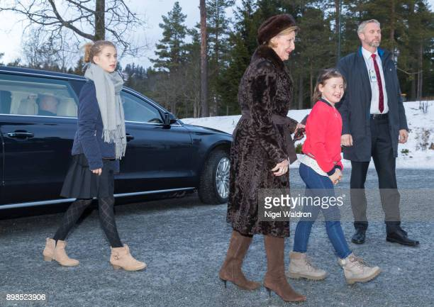 Leah Isadora Behn of Norway Queen Sonja of Norway and Emma Tallulah Behn of Norway on December 25 2017 in Oslo Norway
