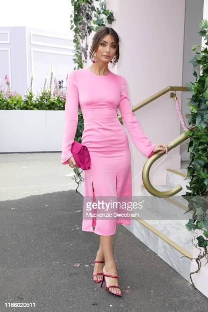 Leah Jay attends Oaks Day at Flemington Racecourse on November 07, 2019 in Melbourne, Australia.
