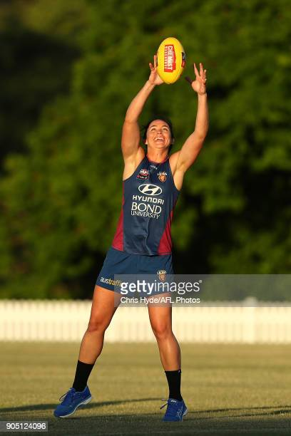 Leah Kaslar catches during a Brisbane Lions AFL training session at Leyshon Park on January 15 2018 in Brisbane Australia
