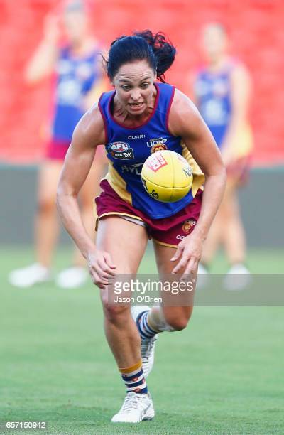 Leah Kaslar in action during the Brisbane Lions Women's AFL training session on March 24 2017 in Gold Coast Australia