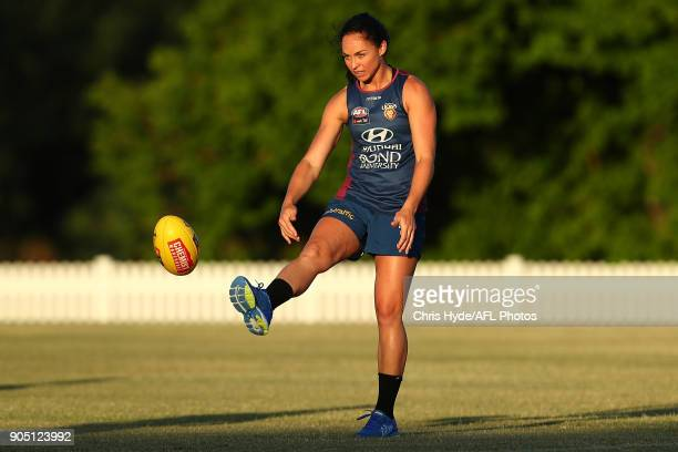 Leah Kaslar kicks during a Brisbane Lions AFL training session at Leyshon Park on January 15 2018 in Brisbane Australia