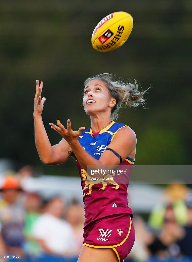 Leah Kaslar of the Lions takes a mark during the round four Women's AFL match between the Brisbane Lions and the Greater Western Sydney Giants at South Pine Complex on February 25, 2017 in Brisbane, Australia.