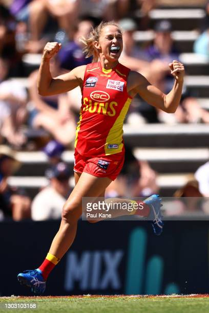 Leah Kaslar of the Suns celebrates a goal during the round four AFLW match between the Fremantle Dockers and the Gold Coast Suns at Fremantle Oval on...