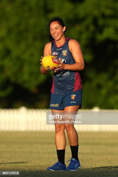 Leah Kaslar smiles during a Brisbane Lions AFL training session at Leyshon Park on January 15 2018 in Brisbane Australia