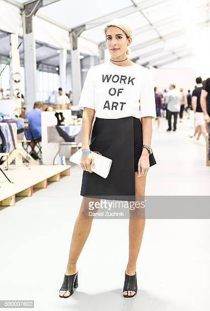 Leah Kauffman is seen wearing a Forever 21 shirt Cmeo Collective skort and Zara shoes at Untitled Art Fair on December 4 2015 in Miami Florida