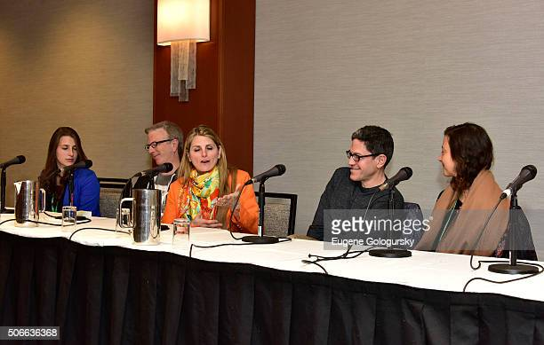 Leah Lane Kevin Hayes Bonnie Comley Randy Weiner Anita Durst attend BroadwayCon All The World's A Stage With Panelists Bonnie Comley Leah Lane Randy...