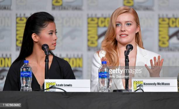 Leah Lewis and Kennedy McMann speak at the Nancy Drew exclusive screening and panel during 2019 ComicCon International at San Diego Convention Center...
