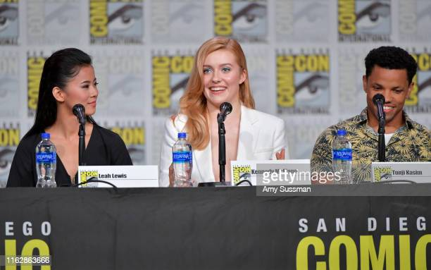 Leah Lewis Kennedy McMann and Tunji Kasim speak at the Nancy Drew exclusive screening and panel during 2019 ComicCon International at San Diego...