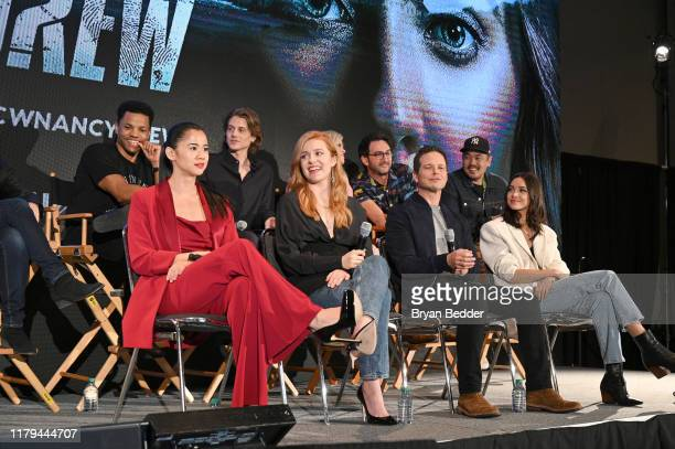 Leah Lewis Kennedy McMann Scott Wolf and Maddison Jaizani speak onstage during the Nancy Drew Panel at New York Comic Con 2019 Day 4 at Jacob K...
