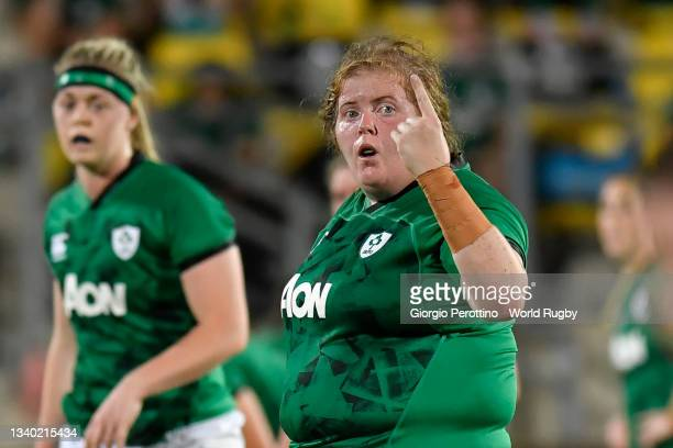 Leah Lyons of Ireland gestures during the Rugby World Cup 2021 Europe Qualifying match between Spain and Ireland at Stadio Sergio Lanfranchi on...