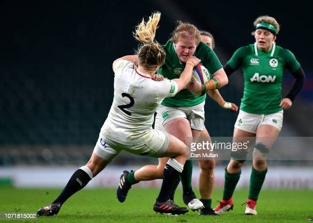 Leah Lyons of Ireland takes on Heather Kerr of England during the Quilter International match between England Women and Ireland Women at Twickenham...