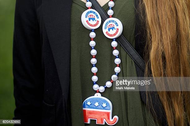 Leah Moyers wears a Republican themed necklace before Republican Presidential nominee Donald J Trump holds a rally at the Double Tree by Hilton...