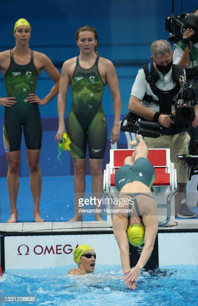 Leah Neale of Team Australia competes in the Women's 4 x 200m Freestyle Relay Final on day six of the Tokyo 2020 Olympic Games at Tokyo Aquatics...